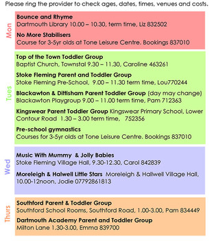 Groups for under 5s in Dartmouth
