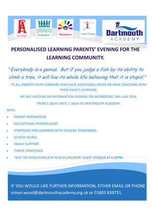Personalised Learning Parents' Evening - Wednesday 16th July, 2014