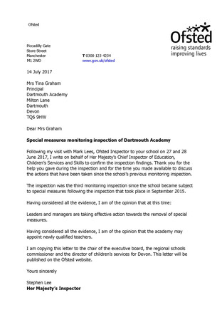 Ofsted monitoring visit