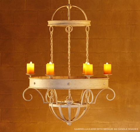 GABRIELLA 6 ARM WITH MEDIUM 3/4 CANDLE SHADES