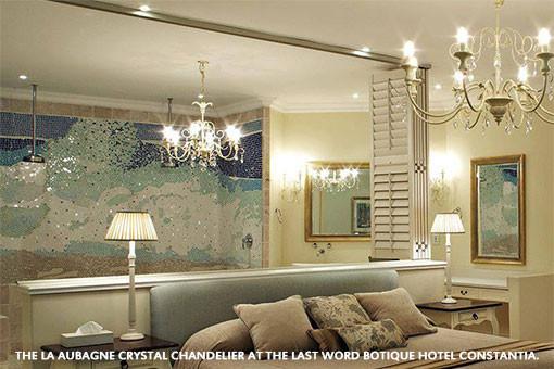 THE LA AUBAGNE CRYSTAL CHANDELIER AT THE LAST WORD BOTIQUE HOTEL CONSTANTIA