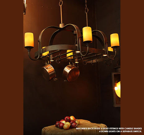 BUTCHERS RACK PETITE 6 LIGHT-FITTINGS  WITH CANDLE SHADES 4 DOWN LIGHTS ON SEPERATE SWITCH