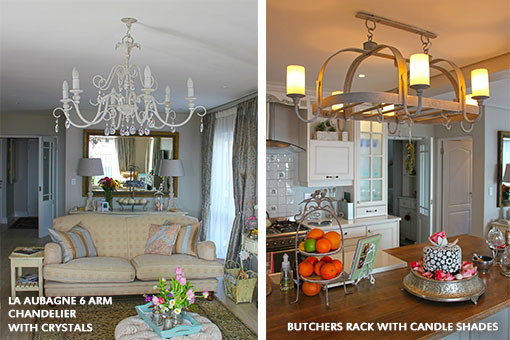 LA AUBAGNE 6 ARM CHANDELIER WITH CRYSTALS | BUTCHERS RACK WITH CANDLE SHADES