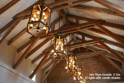 VAN RHYN GRANDE 2 TIER 12 LIGHTS WITH CANDLE SHADES