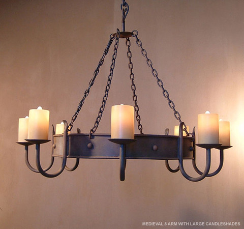 MEDIEVAL 8 ARM WITH LARGE CANDLESHADES