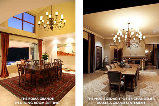 THE ROMA GRANDE IN THE DINING ROOM SETTING | THE NOOITGEDACHT 3 TIER CHANDELIER MAKES A GRAND STATEMENT