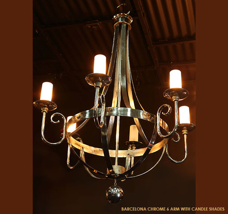 BARCELONA CHROME 6 ARM WITH CANDLE SHADES