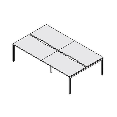 Двойная группа сдвоенных столов с вырезом на металлокаркасе