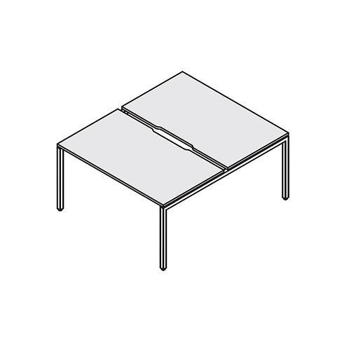 Сдвоенный стол с вырезом на металлокаркасе