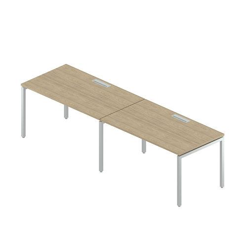 Двойная группа столов с люками на металлокаркасе