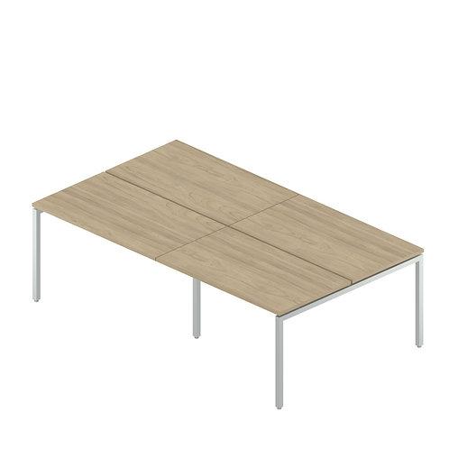 Двойная группа сдвоенных столов на металлокаркасе