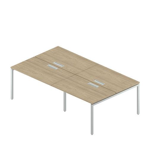 Двойная группа сдвоенных столов с люком на металлокаркасе