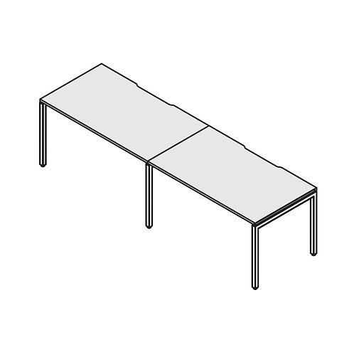Двойная группа столов с вырезами на металлокаркасе