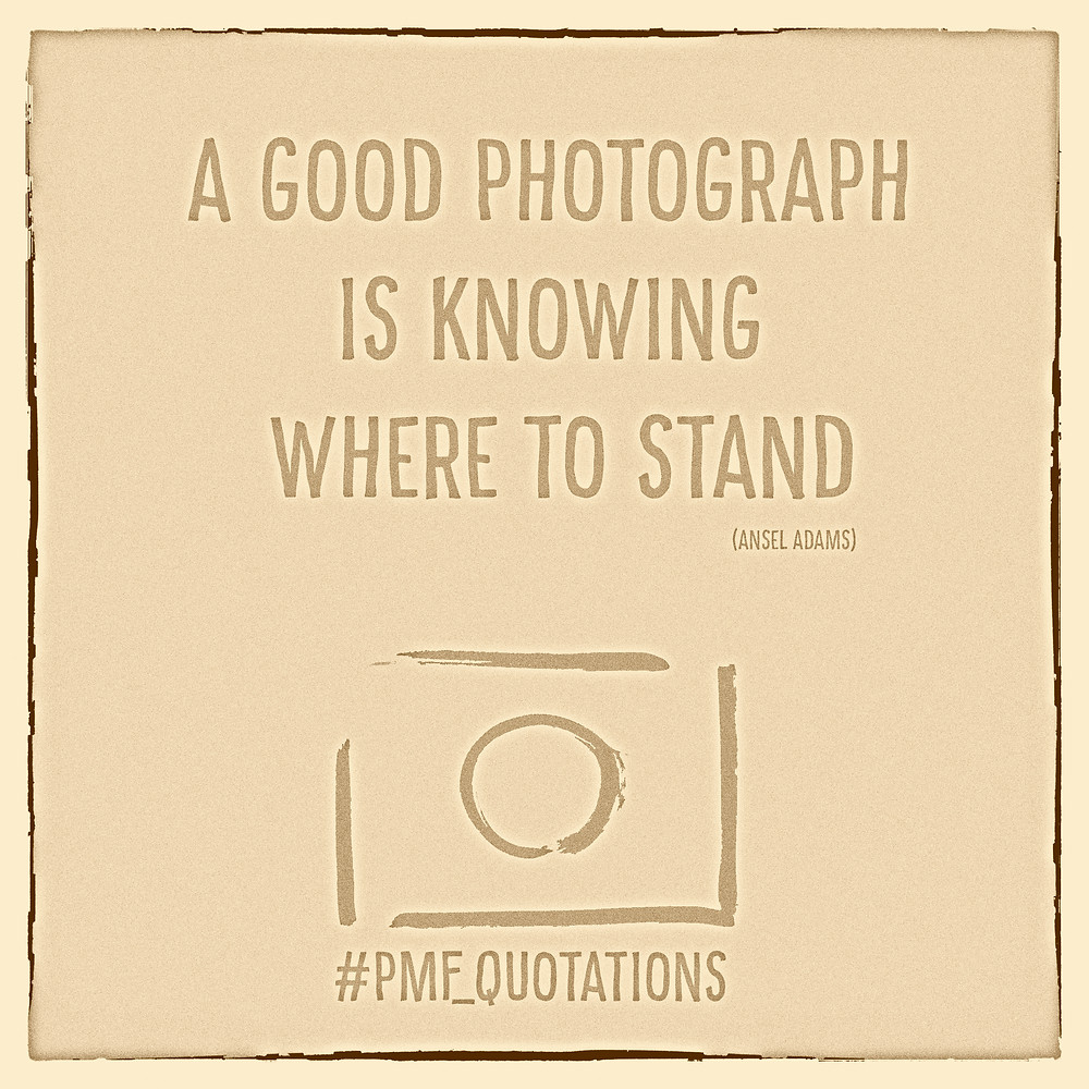 A good Photograph is knowing where to stand. (Ansel Adams)