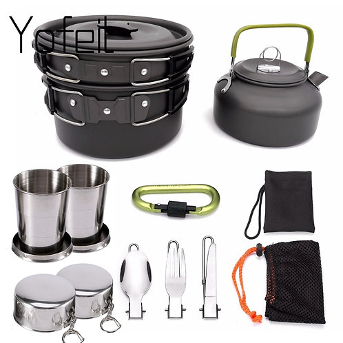 1 Set Camping Cookware Non-Stick w/ Foldable Spoon, Fork, Knife & Cups