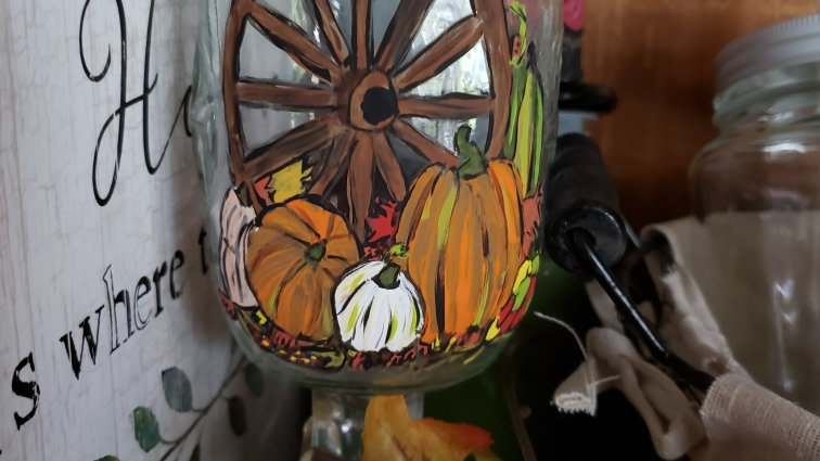 Harvest wagon wheel hand painted glass candle holder - included LE