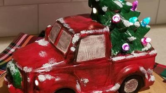 Painted Ceramic Truck with Tree - lighten # 1990-sw-painted
