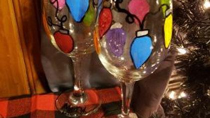 Big Bulb Christmas lights  Hand Painted Wine Glasses - set of 2