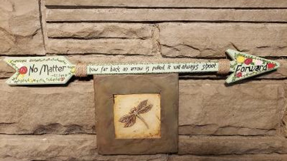 Rose Arrow - hand painted wooden arrow - TS Joyce book quote
