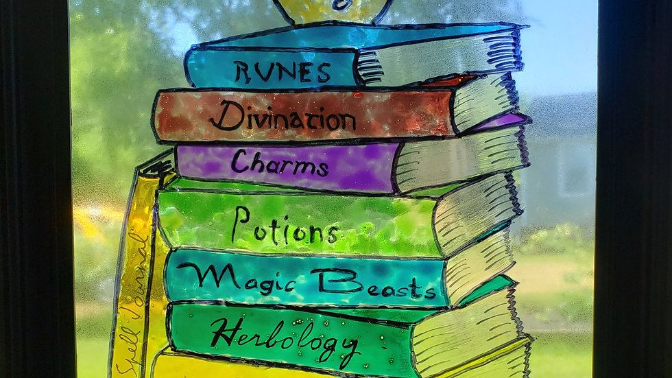 Hand Painted Magic Book Stack Glass Suncatcher with frame