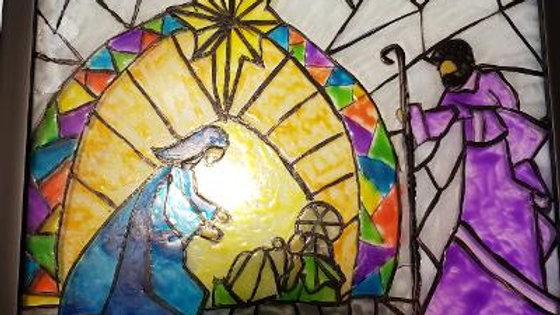 Nativity stained glass Hand Painted on Glass