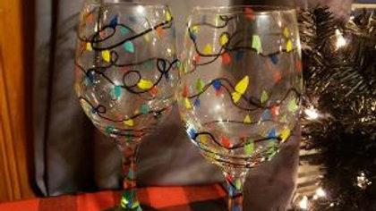 Christmas lights  Hand Painted Wine Glasses - set of 2