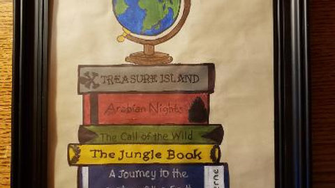 Hand Painted Adventure Book Stack - acrylic on paper - framed 8 x 10