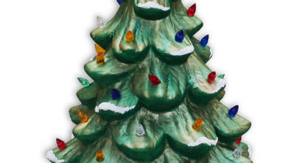 "Painted 11"" Ceramic Christmas Tree #2011-sw-painted"