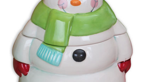 Painted Ceramic Snowman Jar # 1960-sw-painted