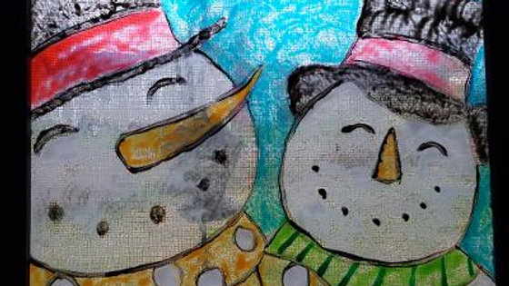 Two Snowmen Hand Painted on Glass