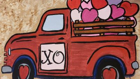 Truck with Hearts Valentine Paint Kit