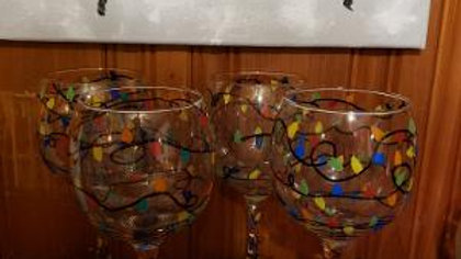 Christmas lights  Hand Painted Wine Glasses - set of 4