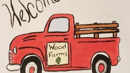 Wood Truck Welcome Sign with Paints kit with Changeable Monthly Tiles
