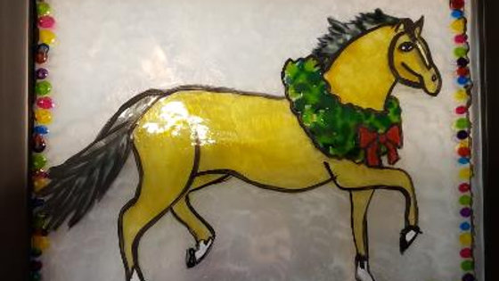 Christmas Horse Hand Painted on Glass