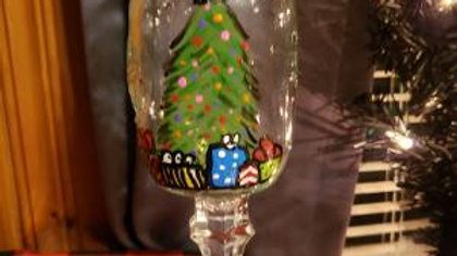 Christmas Tree hand painted glass candle holder - includes LE