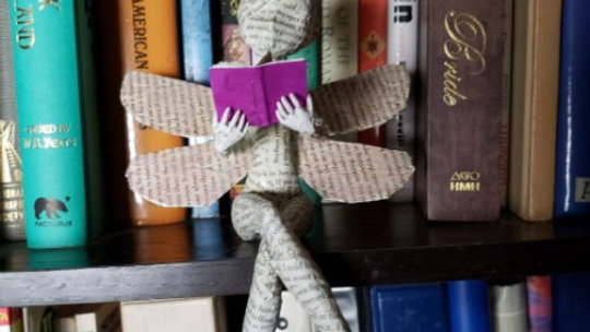 Book Fairy sculpture - dragonfly wings
