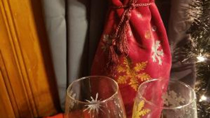 Snowflake  Hand Painted Wine Glasses and Wine Gift Bag