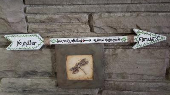 Ivy Arrow - hand painted wooden arrow - TS Joyce book quote