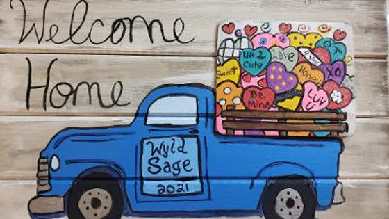 Custom Painted Wood Truck Welcome Sign with Changeable Monthly Tiles