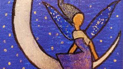Silver Moon Fairy acrylic painting - ready to hang