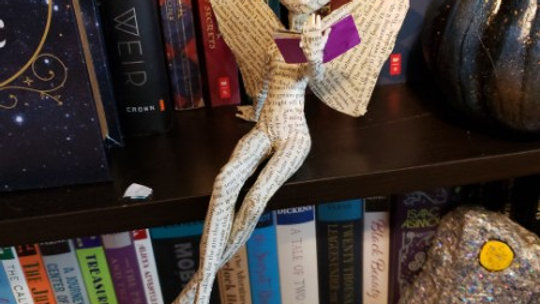 Book Fairy sculpture - butterfly wings