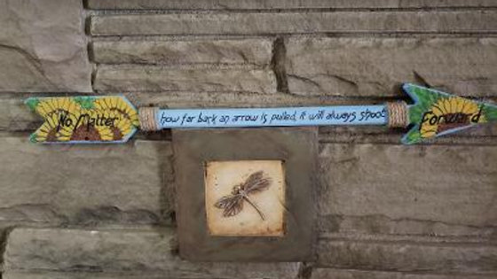 Sunflower Arrow - hand painted wooden arrow - TS Joyce book quote