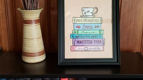 Hand painted and framed Jane Austen book stack 8 x 10