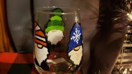 3 Gnomes Hand Painted Wine Glass