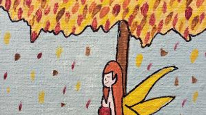 Autumn Leaves Fairy acrylic painting - ready to hang