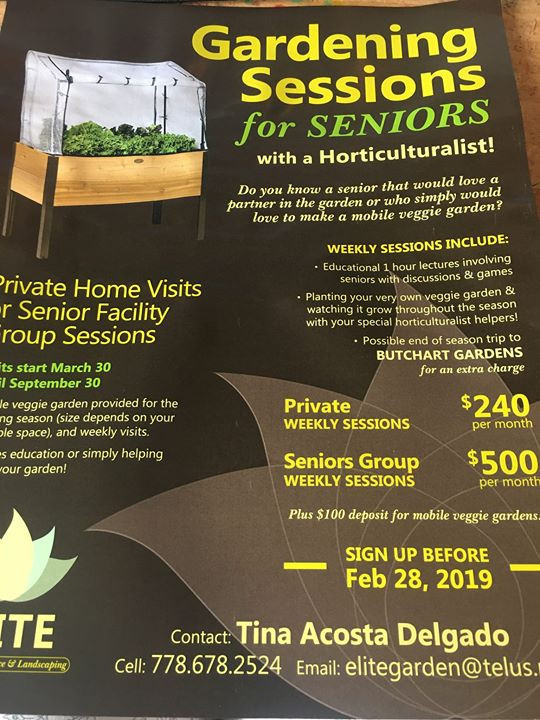 Gardening sessions for Seniors ! Starting this spring sign up now !