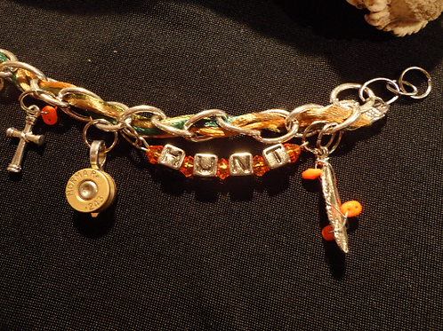Jessi - A Fun Camouflage and Hunter Orange Charm Bracelet with Two Bullet Charms