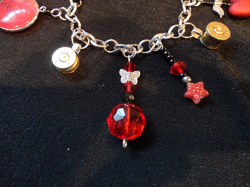 Vivienne - Bold Red and Black Charm Bracelet with Bullet Charms