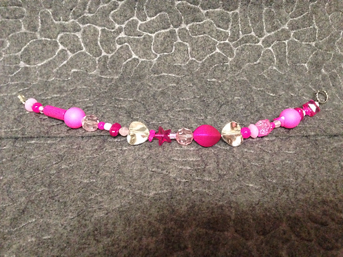 Pink Bead Bracelet with Silver Hearts