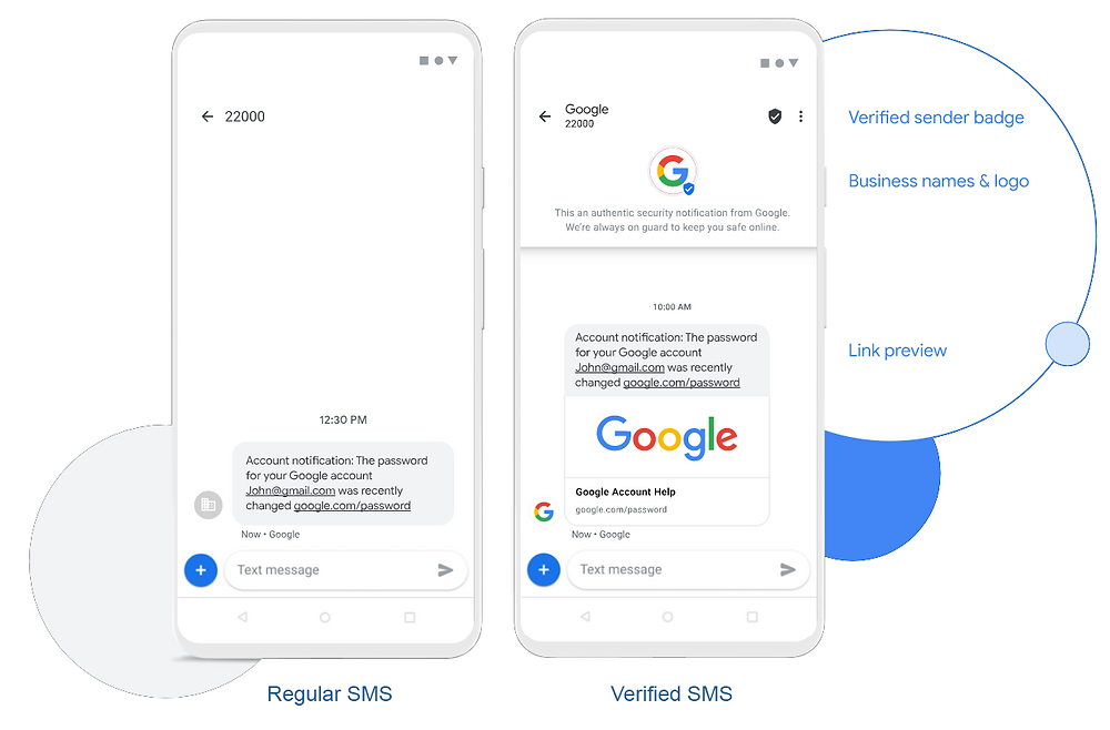 Example of Google Verified SMS